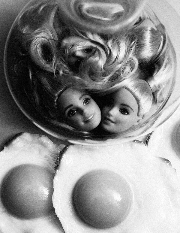 Miu Vermillion Lowbrow Art Photography + Doll Head and Fried Eggs
