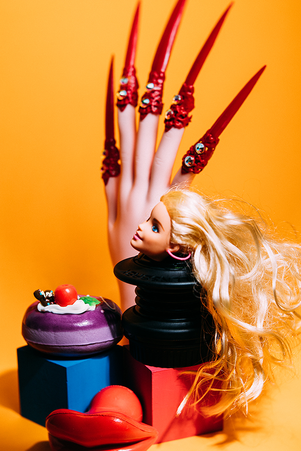 Miu Vermillion Lowbrow Art Photography + Lensbaby Spark Barbie + Angelica Brigade Red Claws